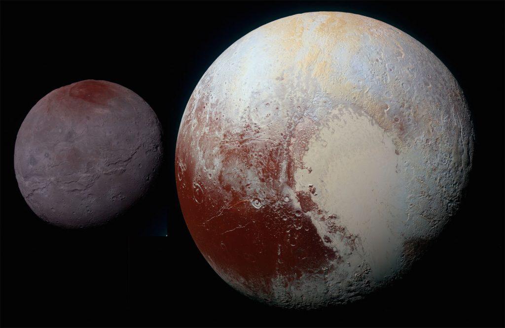Pluto vs. Charon: Wie der Zwergplanet seine dunklen Stellen bekam
