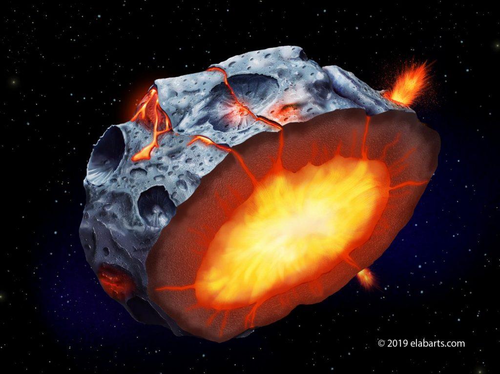 Als auf Asteroiden noch Eisen-Vulkane ausbrachen