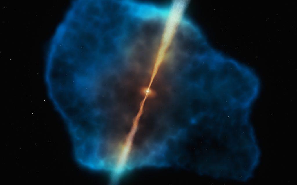 Wasserstoff-Diät machte Schwarze Löcher in der Frühzeit des Kosmos schwer